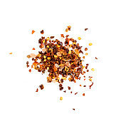 Red Chilli Pepper Flakes with Seeds Isolated