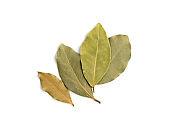 Dry Bay Leaves, Laurel Leaf Seasoning Isolated Top View