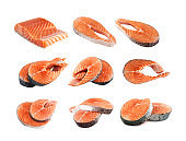 Raw Pink Salmon Steak, Red Fish, Chum or Trout Fillet Cut Out