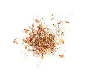 Color wood pencil with sharpening shavings isolated