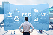 ESG Environmental Social Governance sustainable development and investment evaluation. Green ethical business preserving resources, reducing CO2, caring for employees. Consultant in management.