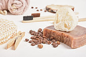 luffa and cocoa homemade soap, bamboo toothbrushes and bathroom accessories