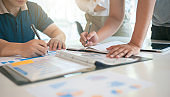 Young business people have a brainstorm meeting and consultation business planning.
