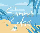 Summer vibes poster template with text space. Summer beach, palms and sea in pblue nk and yellow colors.