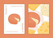 Swiss cheese round wheels with cut piece vector flat poster concept. Gouda and Maasdam fresh and tasty wheels.