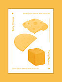 Swiss cheese round wheels with cut piece vector flat poster concept. Gouda, Parmesan, Emmental or Maasdam cheese.