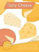 Swiss or French cheese vector flat poster concept. Gouda, Parmesan, Brie, Roquefort or Maasdam cheese.