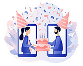 Online party. Tiny people with birthday cake celebrating online birthday party use smartphone app. Quarantine birthday. Self-isolation party. Modern flat cartoon style. Vector illustration