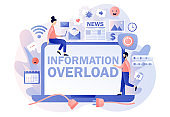 Information overload. Information detox. Tiny people protecting themselves from flow of information and news turning off laptop. Digital detox. Modern flat cartoon style. Vector illustration