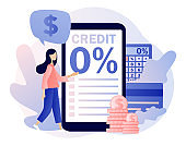 Bank credit concept. Tiny woman signing loan agreement in smartphone app. Percent, good interest rate, interest-free. Finance management. Modern flat cartoon style. Vector illustration