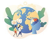 Psychology without borders. World mental health day. Tiny psychologist and patient. Psychotherapy practice, psychological help, psychologist service. Modern flat cartoon style. Vector illustration