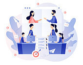 Online conference concept. Tiny people speak in video conference. Online meeting. Social distancing and self-isolation during coronavirus quarantine. Modern flat cartoon style. Vector illustration