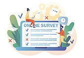 Tiny people filling online survey form on laptop. Online survey concept. Feedback service. Internet surveying, questionnaire, customers voting. Modern flat cartoon style. Vector illustration