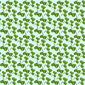 Seamless regular creative pattern with green twigs with aspen leaves.
