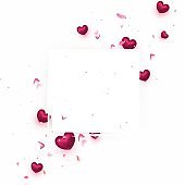 Valentine's day composition. Background with сrimson hearts, flying roses petals,particles. Top view. Pink background for sales, promotionals, web cover. Realistic vector illustration.