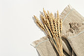 Ears of wheat close up on white background and on sackcloth. Natural cereal plant, harvest time concept