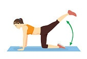 Woman doing exercise with Straight Leg Donkey Kick posture on yoga mat. Workout to target at leg, spine, and abdominal muscles.