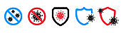 Protection against coronavirus icons. Labels for antiseptic package. Antibacterial gel sticker.