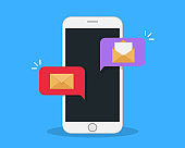 Smartphone screen with letters. Open and closed envelope. New message notification. Online communication concept.