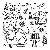 GREEN FARM MONOCHROME Cows In Sketch Vector Illustration Set