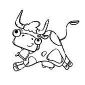 DRINK MILK MONOCHROME Cartoon Cow Vector Illustration Set