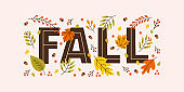 Colorful autumn horizontal banner with seasonal leaves, acorns and lettering fall on pastel background