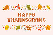 Happy thanksgiving day horizontal banner background with seasonal leaves and lettering on pastel background