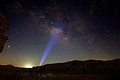 Milky way with a flashlight