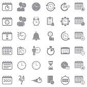 Time And Schedule Icons. Gray Flat Design. Vector Illustration.