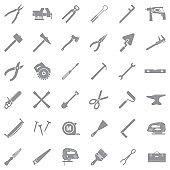 Tools Icons. Gray Flat Design. Vector Illustration.