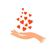 Female hand holding a lot of hearts