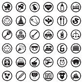 Baby Icons. Black Flat Design In Circle. Vector Illustration.