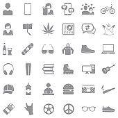 Teen Icons. Gray Flat Design. Vector Illustration.