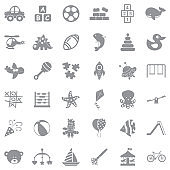 Toys And Fun Icons. Gray Flat Design. Vector Illustration.
