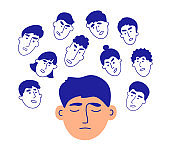 Vector illustration of social pressure with crowd of people in head talk, give advice, violate boundaries