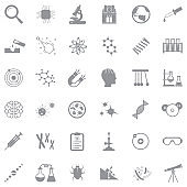 Science Icons. Gray Flat Design. Vector Illustration.