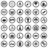Birthday Icons. Black Flat Design In Circle. Vector Illustration.