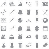 Sewing Icons. Gray Flat Design. Vector Illustration.