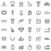 Running Icons. Gray Flat Design. Vector Illustration.