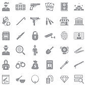 Robbery Icons. Gray Flat Design. Vector Illustration.