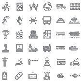 Refugee Icons. Gray Flat Design. Vector Illustration.