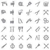 Repairman Icons. Gray Flat Design. Vector Illustration.