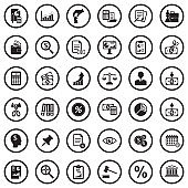 Business And Enterprise Icons. Black Flat Design In Circle. Vector Illustration.