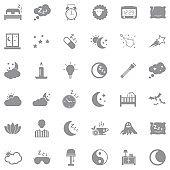 Sleep Icons. Gray Flat Design. Vector Illustration.