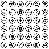 Biohazard And Danger Icons. Black Flat Design In Circle. Vector Illustration.