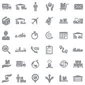 Shipping And Delivery Icons. Gray Flat Design. Vector Illustration.