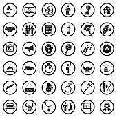 Auction Icons. Black Flat Design In Circle. Vector Illustration.