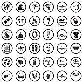 Beach Icons. Black Flat Design In Circle. Vector Illustration.