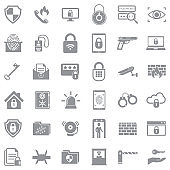 Security Icons. Gray Flat Design. Vector Illustration.