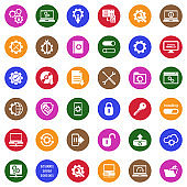 Setup, Installation And Configuration Icons. White Flat Design In Circle. Vector Illustration.